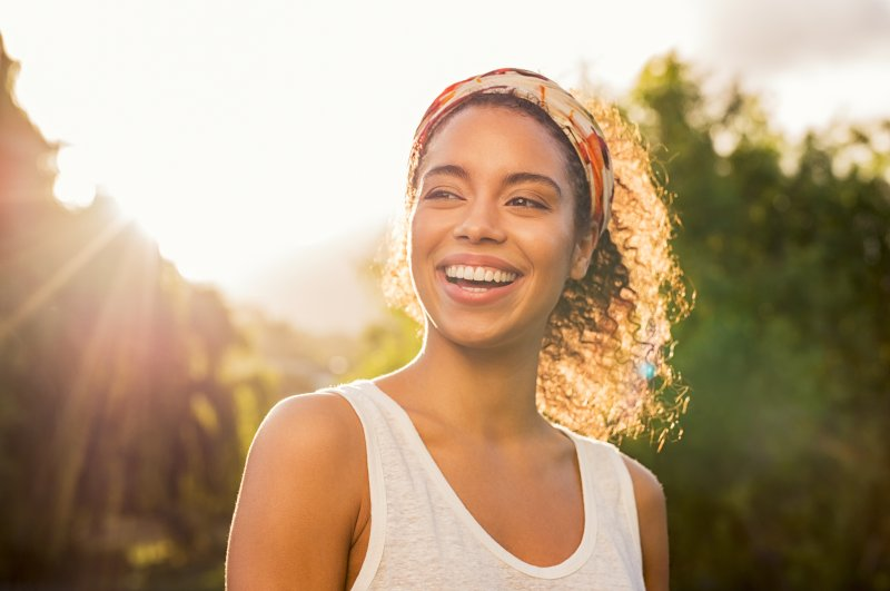 Woman smiling in the sun